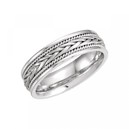 - 14kt White 6.75mm Hand-Woven Band Size 10 50635 / 14Kt White / 10 / 06.75 Mm / Hand Woven Band
