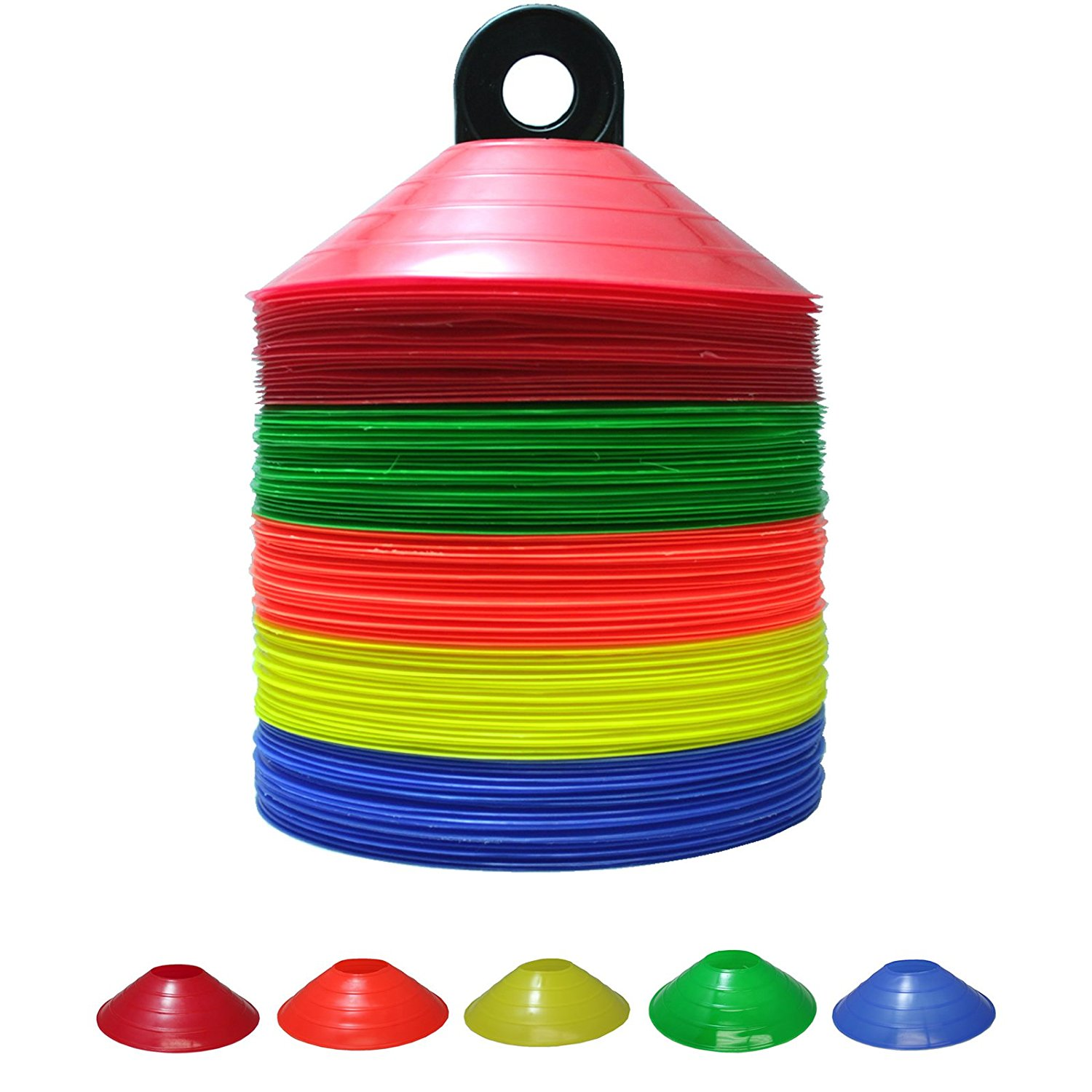 50 Disc Cones Soccer Football Field Marking Coaching Cones - Assorted Colors ... By Bluedot Trading