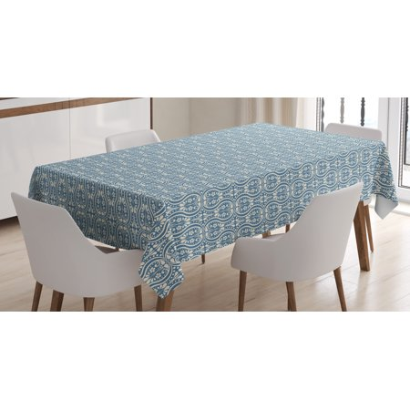 Damask Tablecloth, Symmetrical Ancient Flowers and Curls Wavy Lines Old Ornamental Curves Tile, Rectangular Table Cover for Dining Room Kitchen, 60 X 90 Inches, Slate Blue Ivory, by Ambesonne