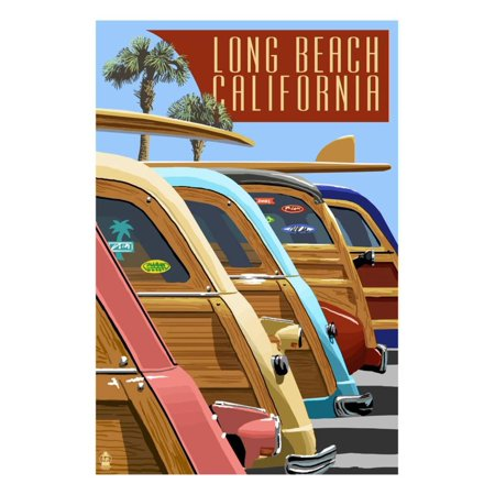 Long Beach, California - Woodies Lined Up Print Wall Art By Lantern (Mall Long Beach California)