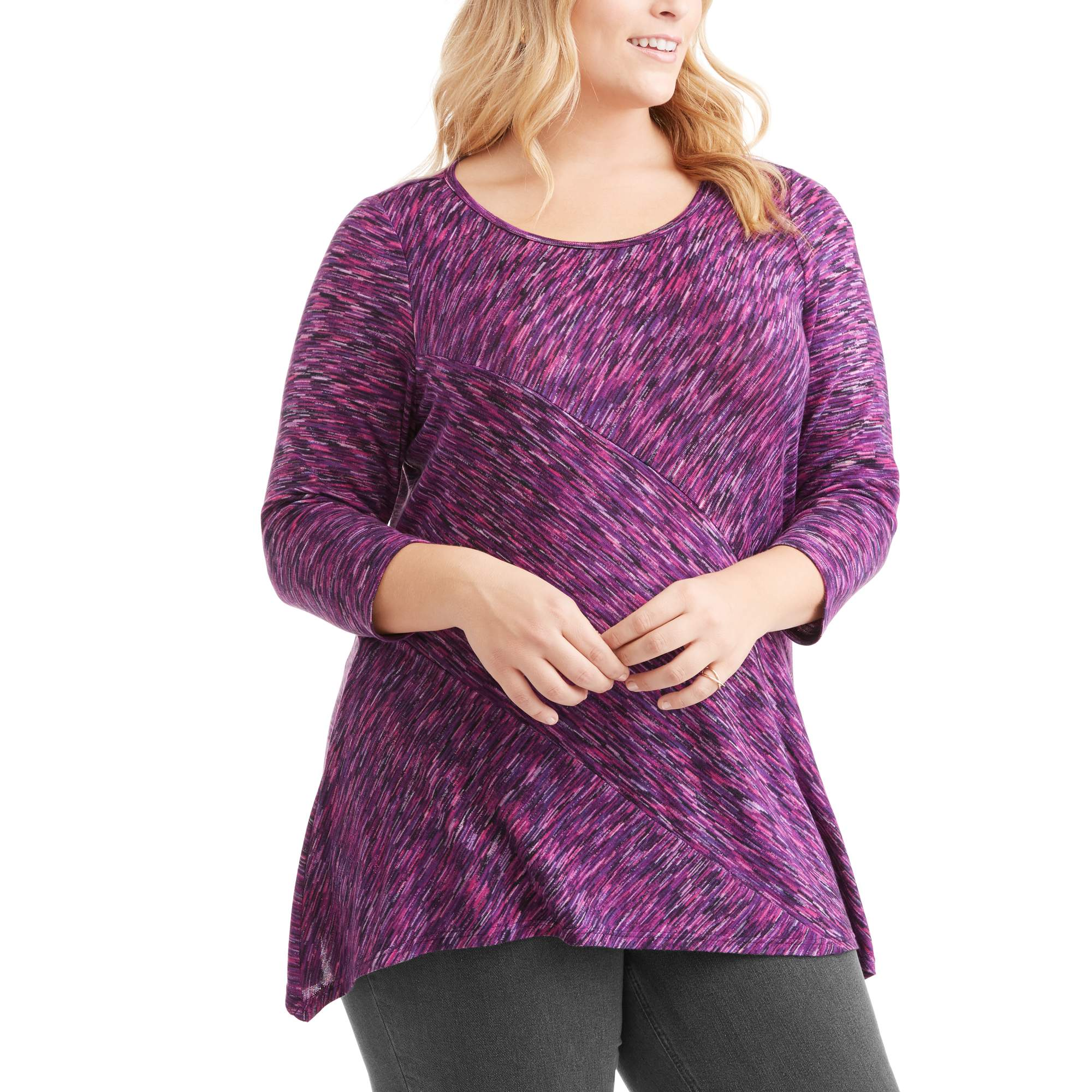 Lifestyle Attitude Women's Plus Hacci Knit Sharkbite Top