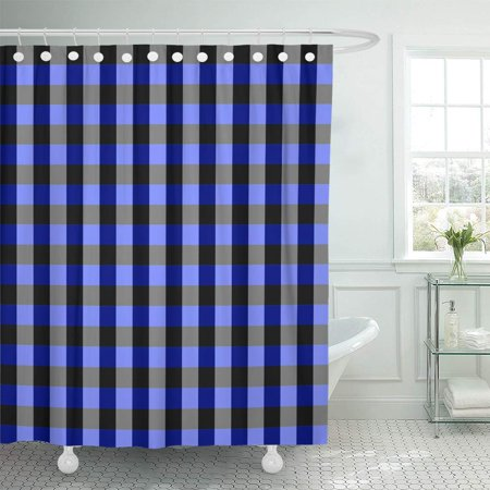 KSADK Abstract Blue Tan and Lilac Checkerboard with Minor Check Chess Gingham Graphic Bathroom Shower Curtain 60x72 inch