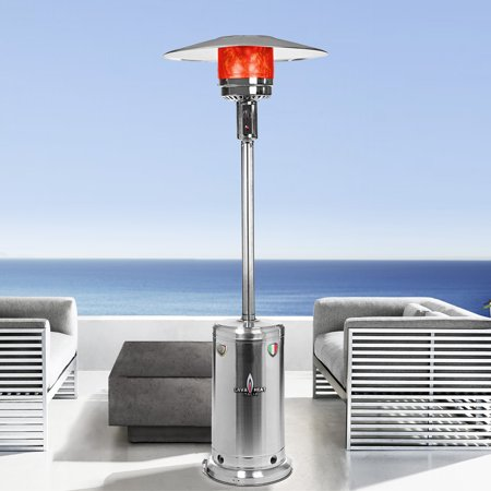 Verona T-Line 7 Foot Propane Commercial Umbrella Heater, Manual Ignition, Stainless Steel Finish