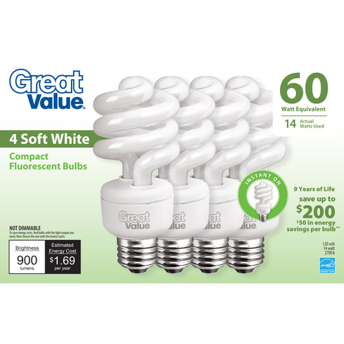 Great Value Light Bulb 14W (60W Equivalent) Spiral (CFL), Soft White, 4-Pack