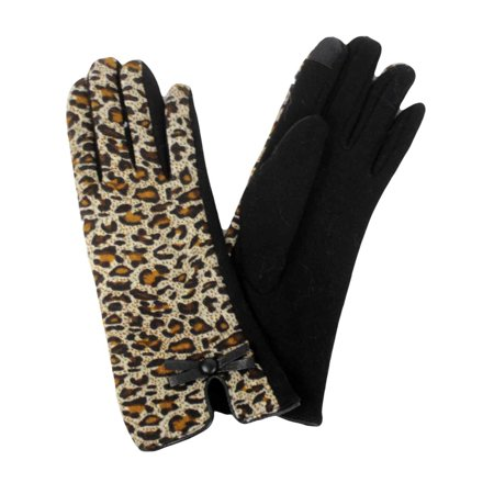 David & Young Womens Brown Leopard Print Stretch Fit Texting & Tech Gloves