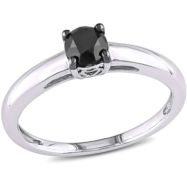 1/2 Carat Round Black Diamond Solitaire