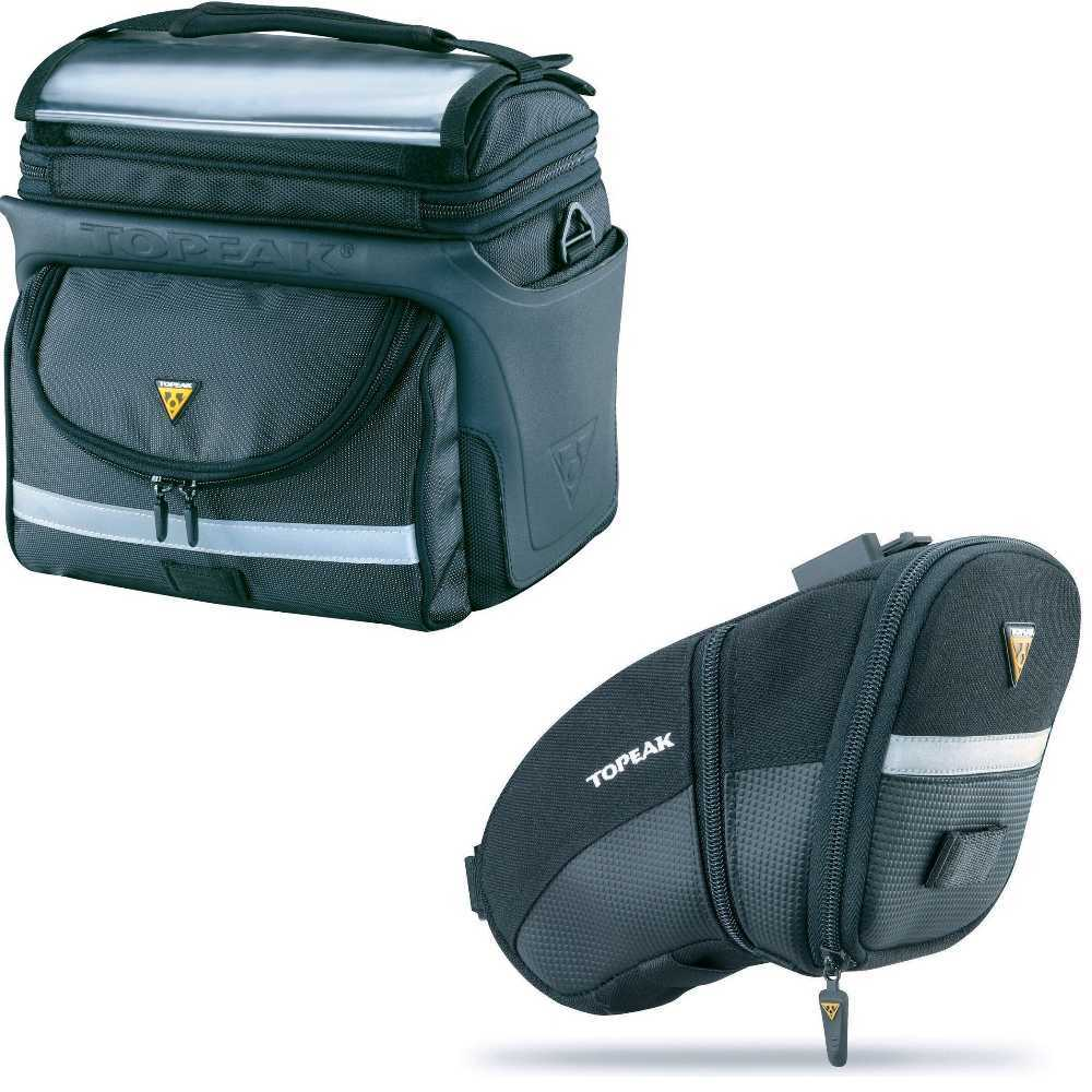 Topeak TourGuide Handlebar Bag DX with Aero Wedge Pack Bike Seat Pack (Large)