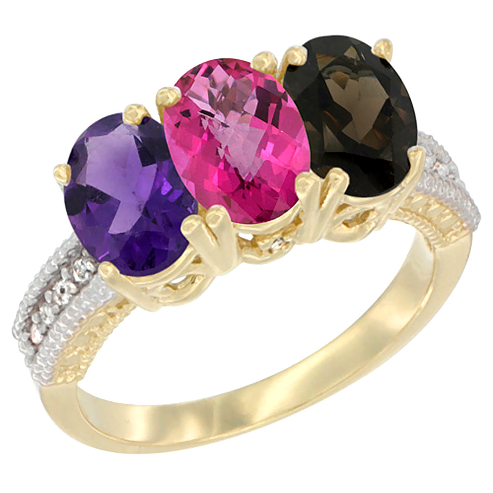 10K Yellow Gold Diamond Natural Amethyst, Pink Topaz & Smoky Topaz Ring Oval 3-Stone 7x5 mm,sizes 5-10 by WorldJewels