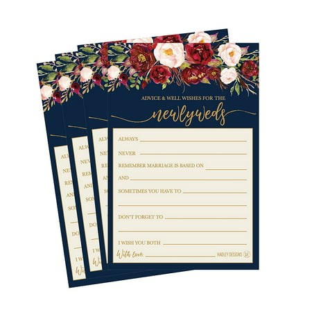50 4x6 navy floral wedding advice well wishes for the bride and groom cards