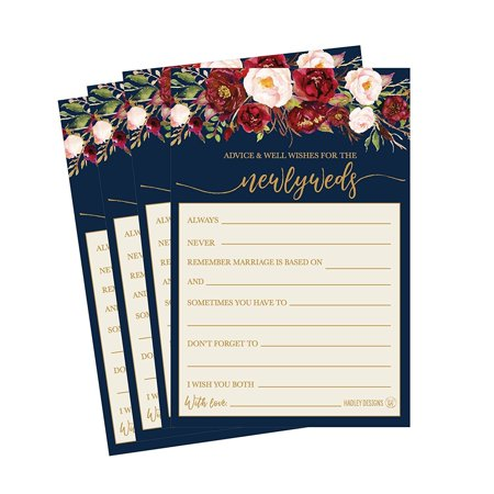 50 4x6 Navy Floral Wedding Advice & Well Wishes For The Bride and Groom Cards, Reception Wishing Guest Book Alternative, Bridal Shower Games Note Marriage Advice Bride To Be, Best - Best Wishes For Wedding