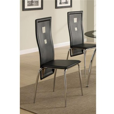 Benzara BM171506 41 x 19 x 22 in. Metal Dining Chair with Cutout Back, White & Chrome - Set of 2 - image 1 of 1
