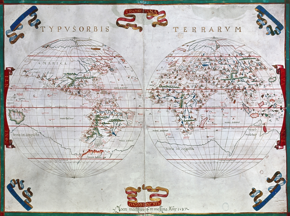 World Map 1587 Nmap Of The World By Juan Martinez From Atlas