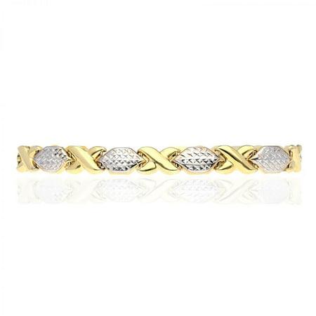 10k Two-Tone Gold Diamond Cut XO Hugs & Kisses Bracelet 7
