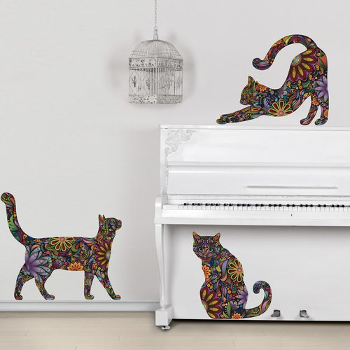 My Wonderful Walls 3 Piece Repositionable Cat Sticker Wall Decal