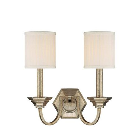 Capital Lighting Fifth Avenue Two Light Wall Sconce Winter Gold Finish With Pleated Fabric Shade