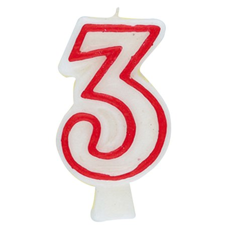 Number 3 Birthday Candle, 2.75 in, Red and White, 1ct](Number 3 Candle)