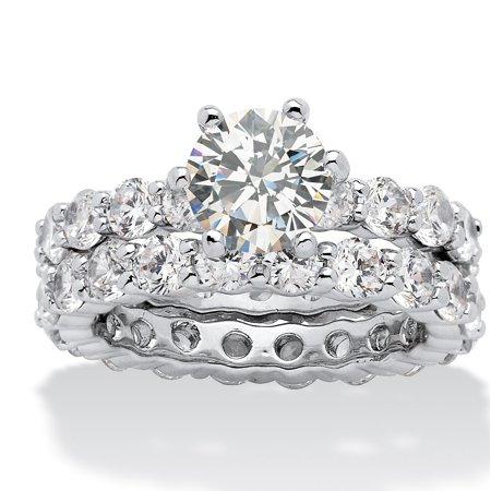 5.60 TCW Round Cubic Zirconia Platinum-Plated Bridal Engagement Ring Eternity Wedding Band (Designer Platinum Eternity Band)