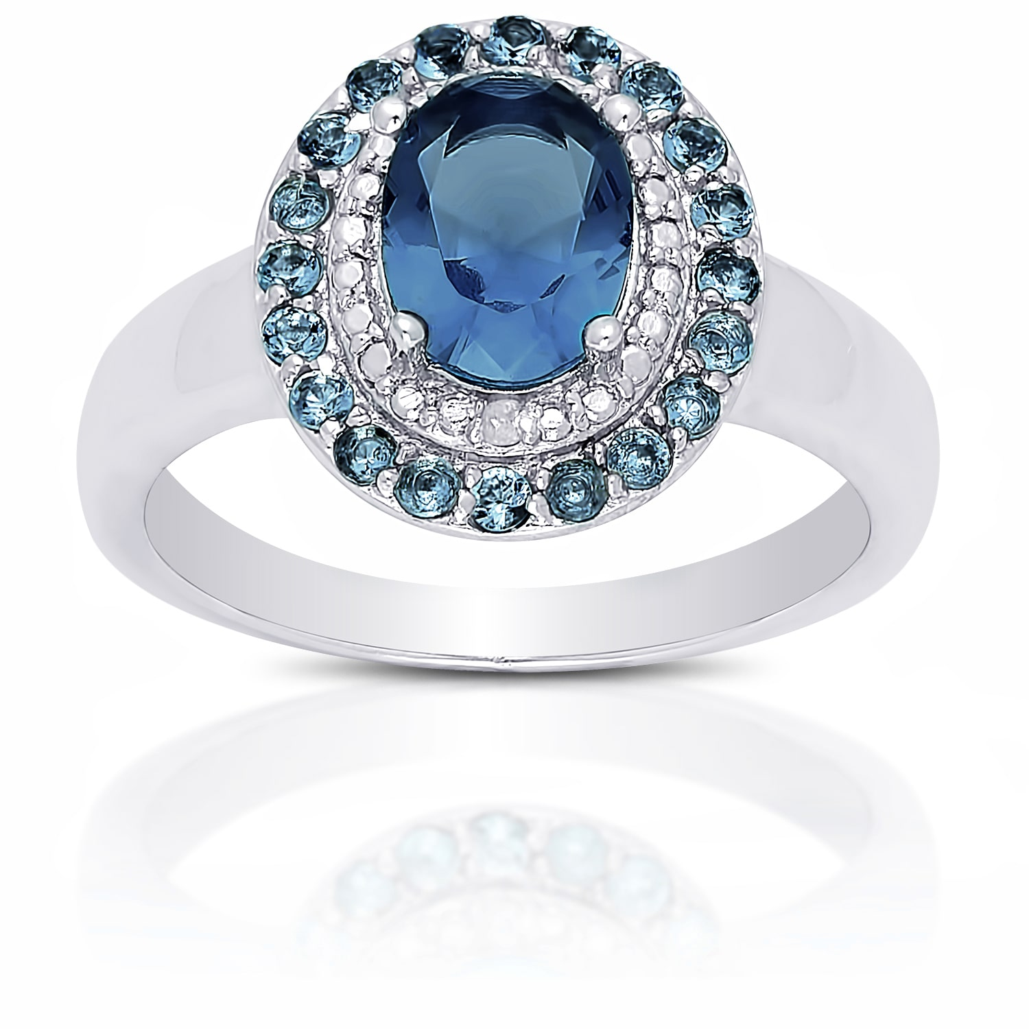 Dolce Giavonna Sterling Silver London Blue Topaz Diamond Accent Ring by