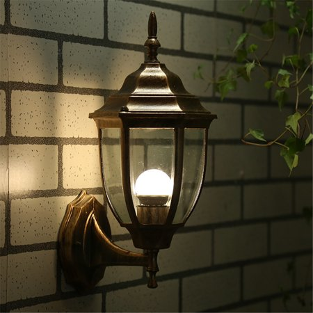 Retro Outdoor Wall Light Exterior Fixture Bronze Lantern Glass Porch Lamp