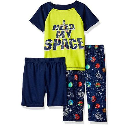 Bra Boy Short Set - Glow-in-the-Dark Short Sleeve Top & Pants Pajamas, 3-piece Set (Baby Boys)