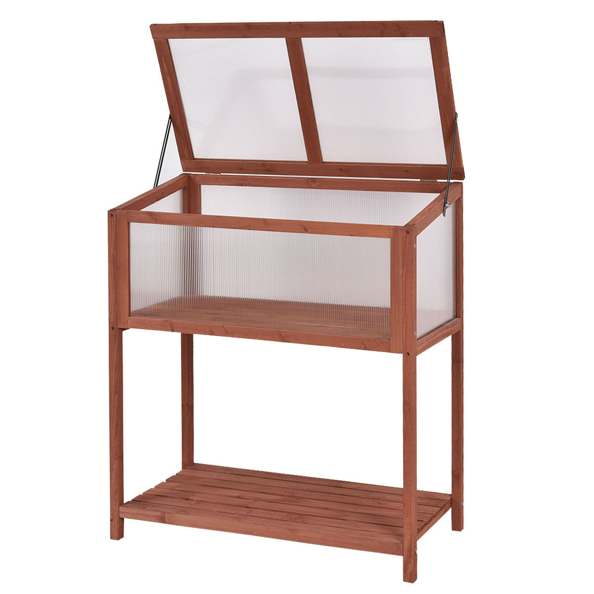"GHP Outdoor 35.4""Lx19.3""Wx40.5""H Solid Fir Wooden Greenhouse/Planter w Storage Shelf"