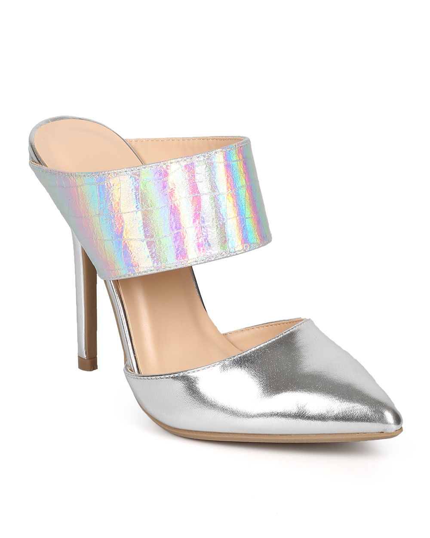 Wild Diva DK53 Women Iridescent Metallic Pointy Toe Stiletto Mule Pump