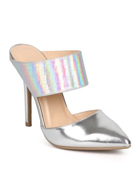 New Women Wild Diva Adora-89 Iridescent Metallic Pointy Toe Stiletto Mule Pump