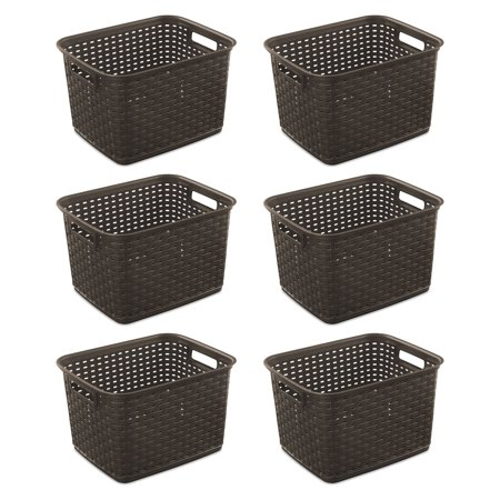 Sterilite 12736 Tall Wicker Weave Plastic Laundry Storage Basket, Brown (6 Pack)