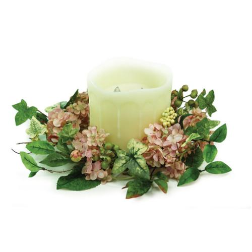 Pink green and yellow artificial hydrangea pillar candle ring