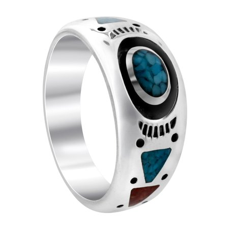 Gem Avenue 925 Sterling Silver Turquoise & Coral Southwestern Style Band ()