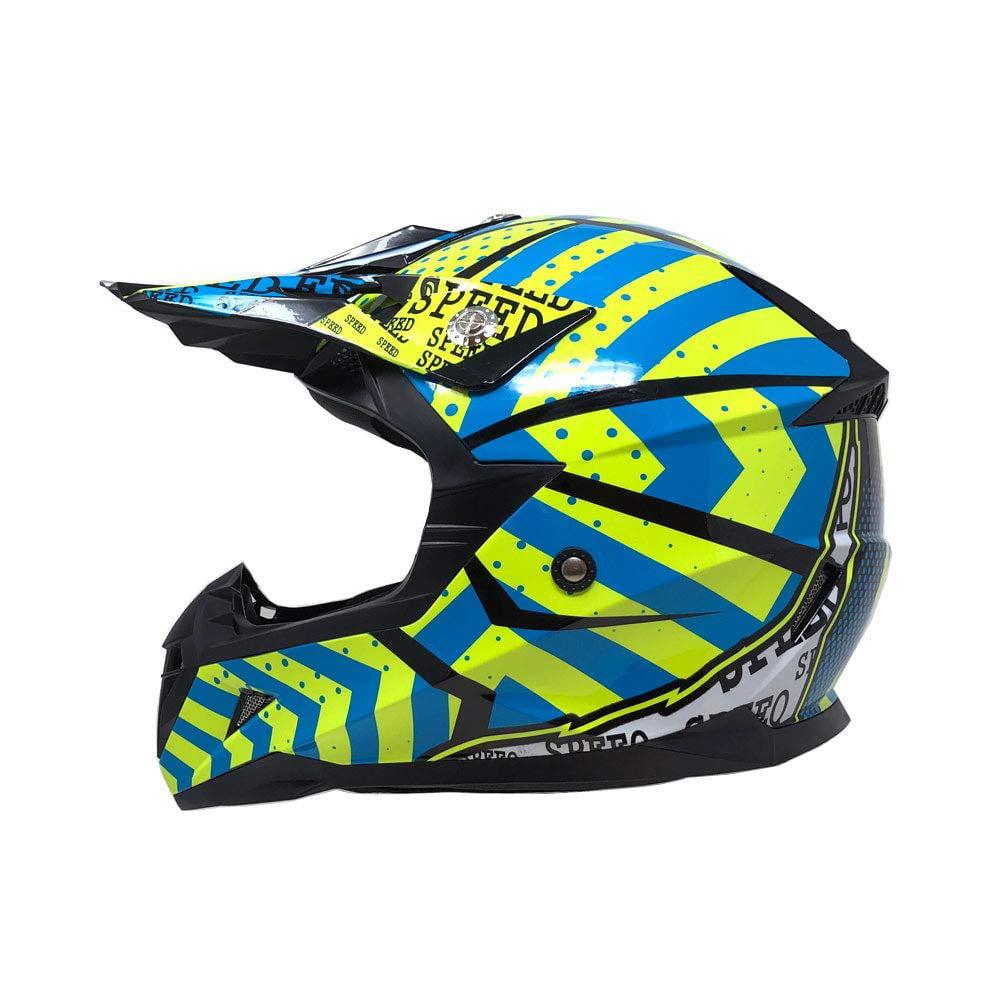 Motorcycle Adults Helmet Off Road MX ATV Dirt Bike Motocross UTV - Shiny Yellow/Blue (Medium)