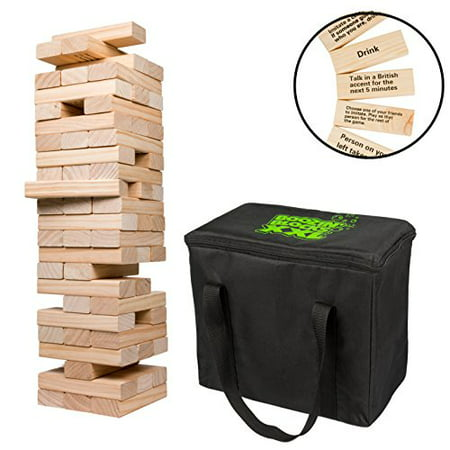 Giant Stacking Tower Drinking Game (Stacks up to 4ft) - 60pcs Wooden Blocks with Drinking Commands (21+ only!)](Halloween Beer Drinking Games)