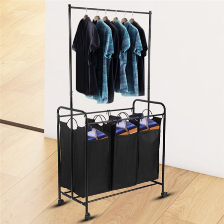 Removable Laundry Sorter Cart with 3 Durable Detachable Bags Mobile Laundry Sorting Trolley Cart,Black ()