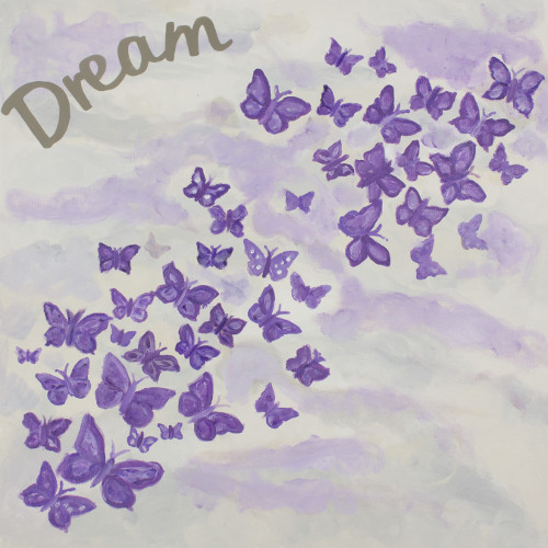 Judith Raye Paintings LLC Dreaming of Butterflies Framed Painting Print on Wrapped Canvas in Purple