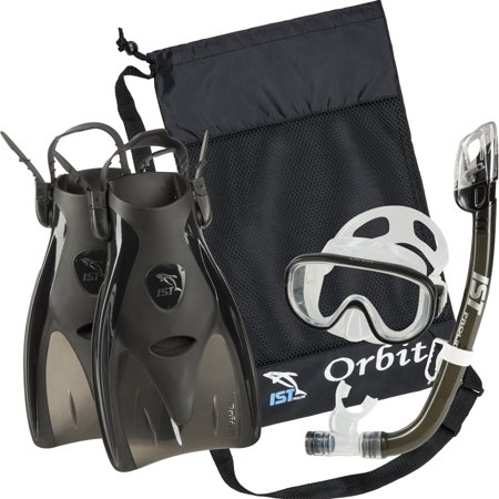 IST Orbit Snorkeling Gear Set: Tempered Glass Mask, Dry Top Snorkel & Trek Fins for Compact Travel (Black Silicone/Blue,