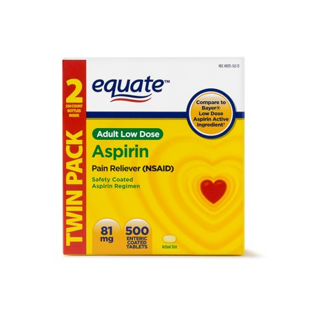 Equate Low Dose Aspirin Enteric Coated Tablets  81 Mg  250 Ct  2 Pk