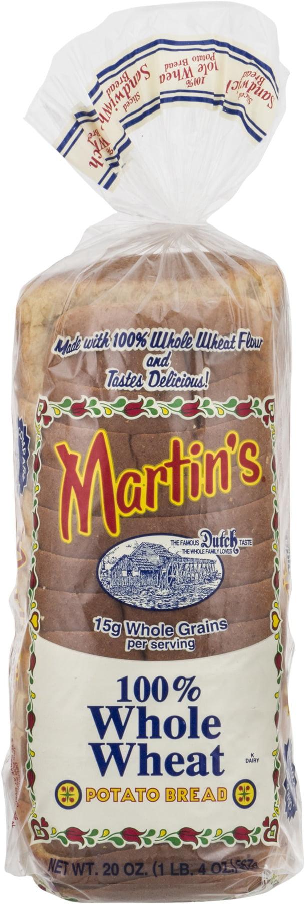 Martin's 100% Whole Wheat Potato Bread- 16 Slice 20 oz (2 bags) by Martin's