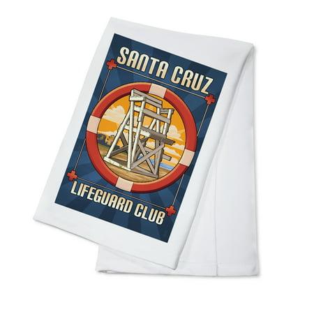 Linen Cotton Club - Santa Cruz, California - Lifeguard Club - Lantern Press Poster (100% Cotton Kitchen Towel)