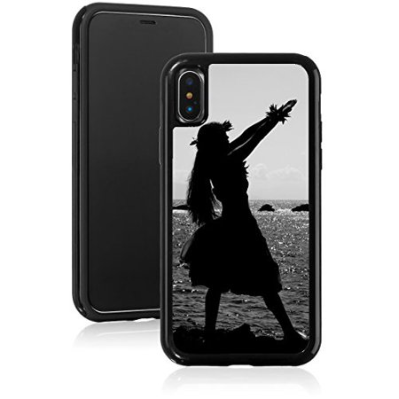 Shockproof Impact Hard Soft Case Cover for Apple iPhone Hula Dancer Silhouette Hawaii (Black, for Apple iPhone XR) (Dancers Silhouette)