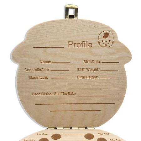 Wooden Baby Teeth Save Box Fairy Souvenir Boxes Tooth Keepsake Organizer -