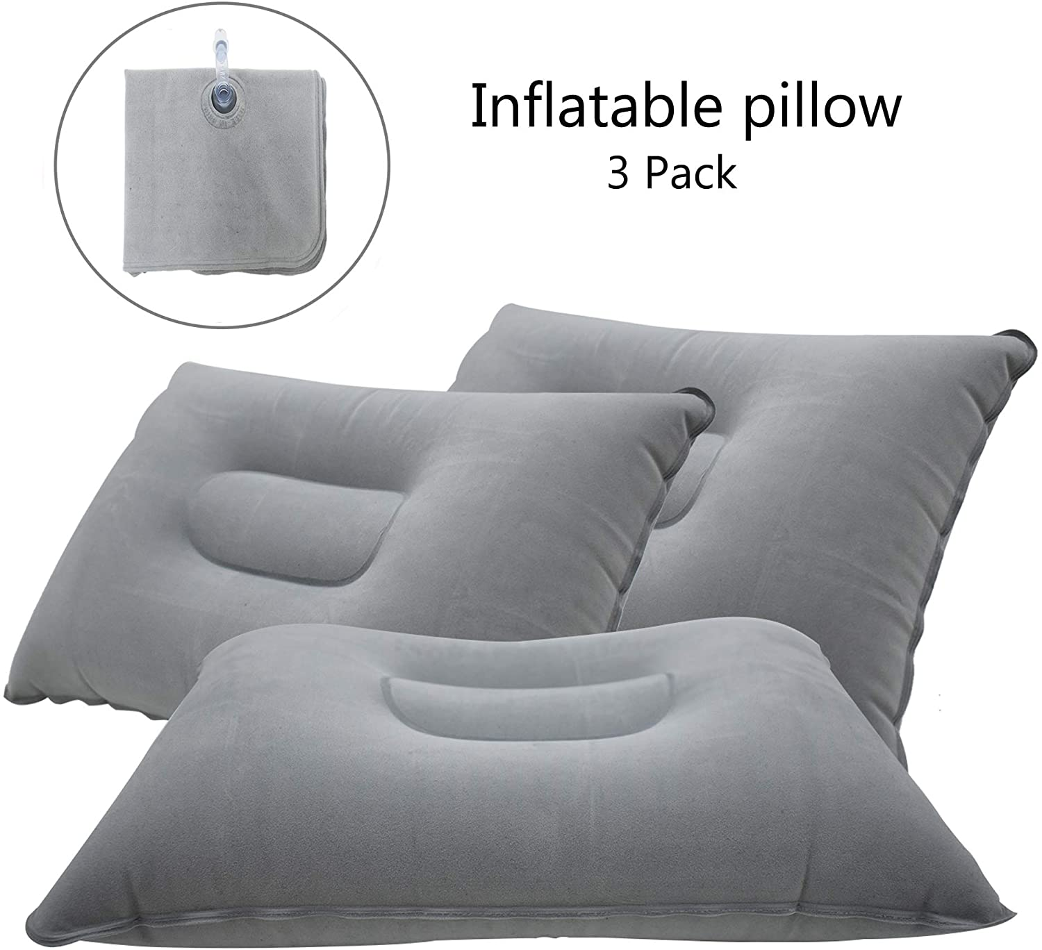 Camping Pillow Ultralight Inflatable Pillow for Neck Lumber Support Backpacking Hiking 2 Pack Gray Ultralight Inflatable Pillow Inflatable Pillow Washable Travel Air Pillows for Camping