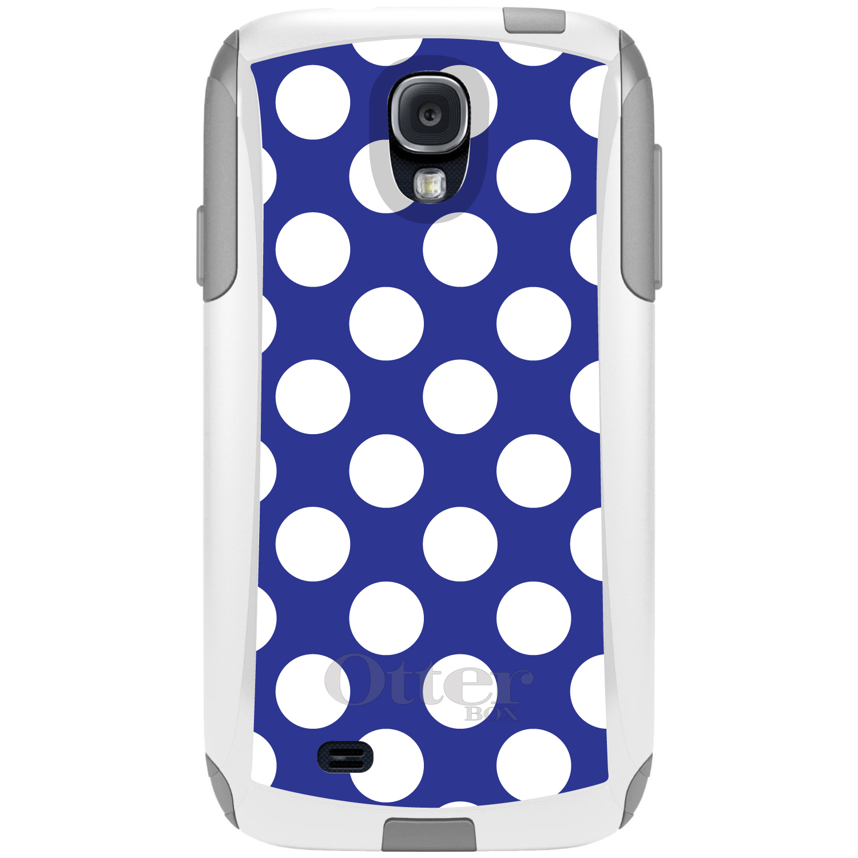 DistinctInk™ Custom White OtterBox Commuter Series Case for Samsung Galaxy S4 - White & Dark Blue Polka Dots