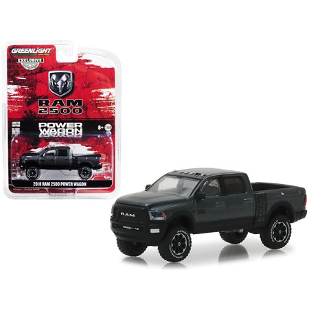 "2018 Dodge Ram 2500 Power Wagon Pickup Truck Granite Crystal Dark Gray ""Hobby Exclusive"" 1/64 Diecast Car by Greenlight"