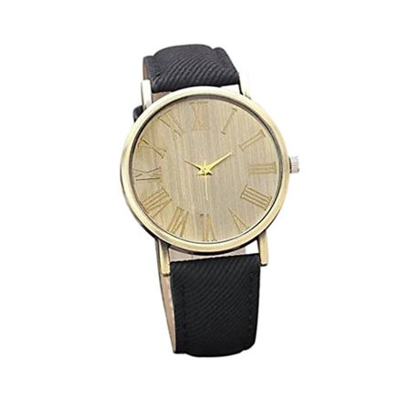 Blue Jean Denim Style Watch Antique Copper Color Dial Black Band Wrist  Watch-218