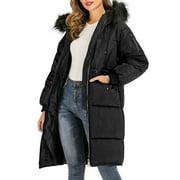 SAYFUT  Women Warm Long Coat Fur Collar Hooded  Long Coat Jacket Winter Parka Outwear Black