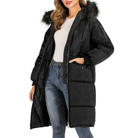 SAYFUT Long Puffer Hooded Coat for Womens Winter Plus Size Button Front Puffer Down Jackets Coats Outwear with Fuax Fur Collar Trim Leather Coat With Fur Collar