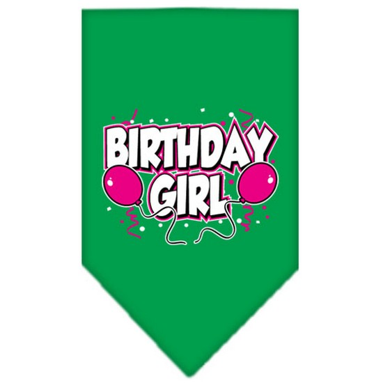Mirage 66-06 LGEG Birthday Girl Screen Print Pet Bandana Emerald Green Large