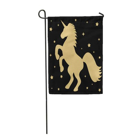 NUDECOR Golden Cute Gold Unicorn Silhouette Stars on Beautiful Garden Flag Decorative Flag House Banner 12x18 inch - image 1 of 1