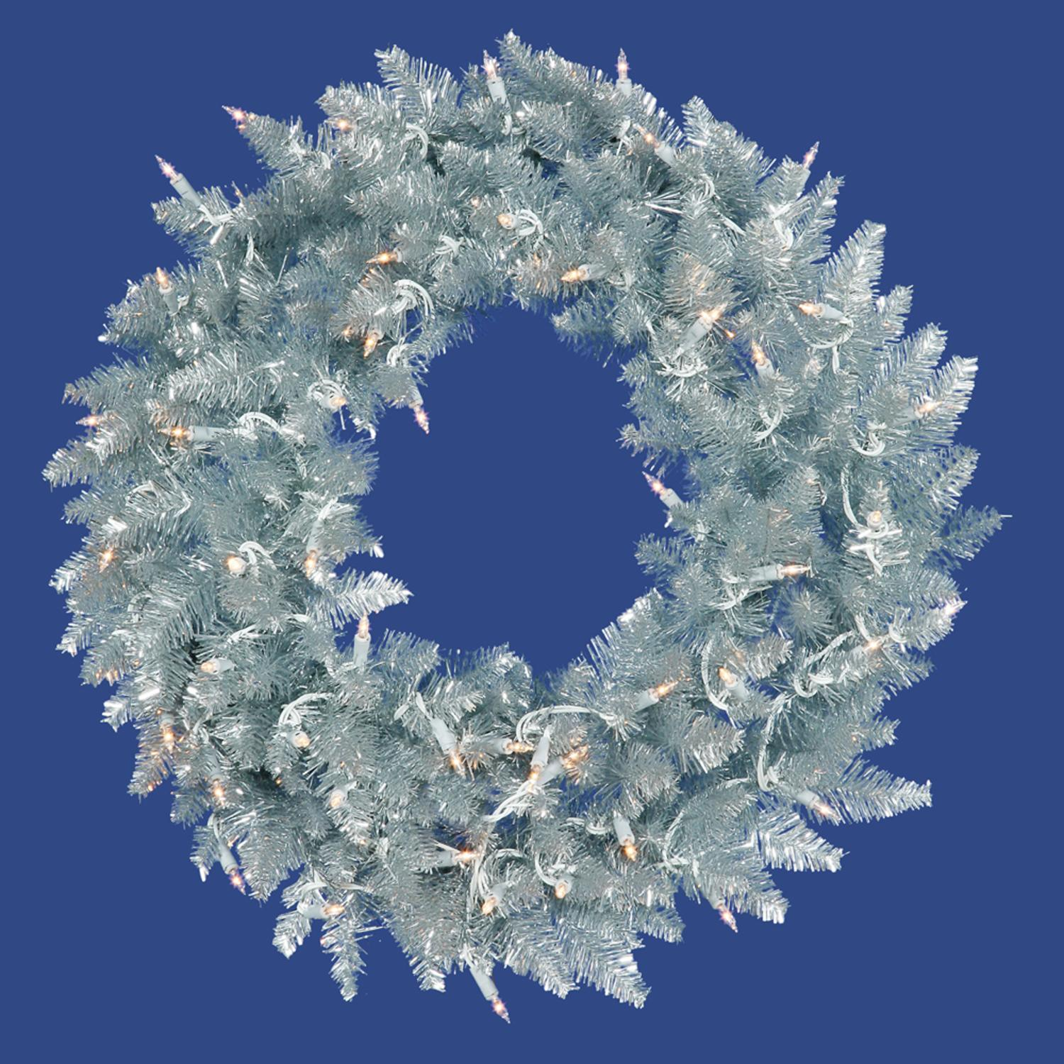 "Vickerman 72"" Prelit Silver Ashley Spruce Tinsel Christmas Holiday Wreath - Clear Lights"
