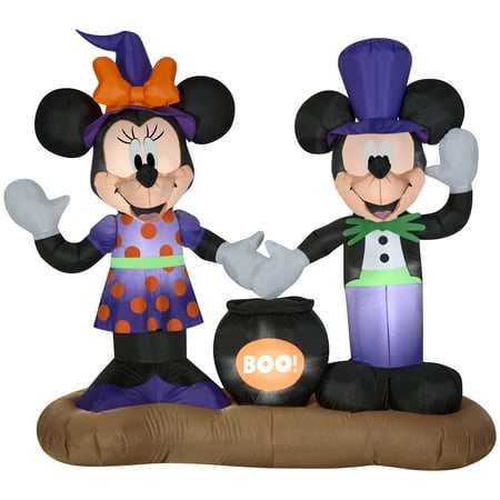 Halloween Airblown Inflatable 4 5 Ft  Mickey And Minnie With Cauldron Scene By Gemmy Industries
